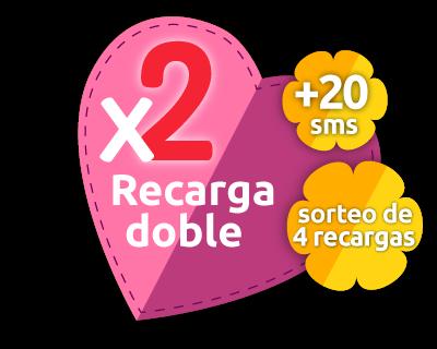 Recarga doble más 20 SMS gratis