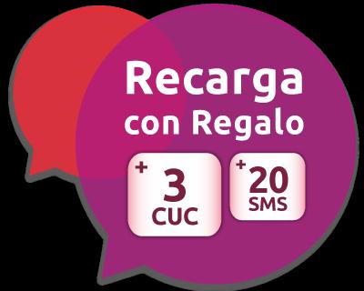 3 CUC de regalo más 20 SMS gratis a Cuba